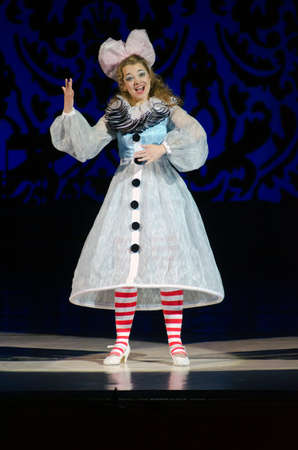 vibrate: DNIPROPETROVSK, UKRAINE - DECEMBER 26: Famous singer Natalia Dekonenko performs DOLL OLYMPIA at the Dnipropetrovsk State Opera and Ballet Theatre on December 26, 2014 in Dnipropetrovsk, Ukraine Editorial