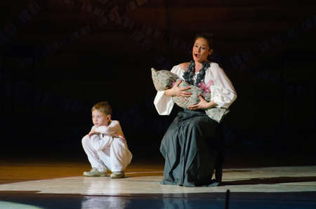 ensemble: DNIPROPETROVSK, UKRAINE - DECEMBER 26: Members of the Dnipropetrovsk State Opera and Ballet Theatre perform THE CRADLE OF LIFE on December 26, 2014 in Dnipropetrovsk, Ukraine
