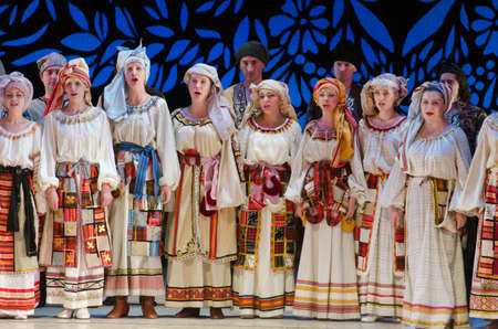 DNIPROPETROVSK, UKRAINE - DECEMBER 26: Members of the Dnipropetrovsk State Opera and Ballet Theatre perform UKRAINE on December 26, 2014 in Dnipropetrovsk, Ukraine