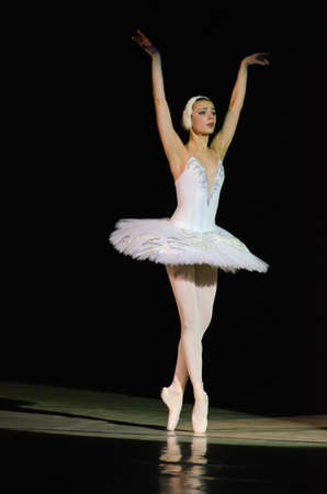 DNIPROPETROVSK, UKRAINE - DECEMBER 26: Famous dancer Maria Lolenko performs SWAN at State Opera and Ballet Theatre on December 26, 2014 in Dnipropetrovsk, Ukraine Editorial