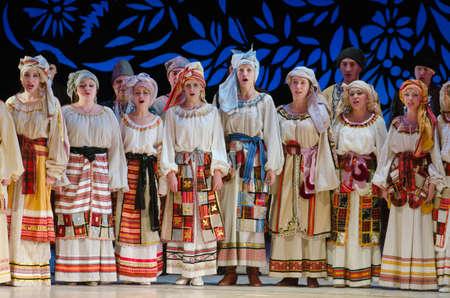 ensemble: DNIPROPETROVSK, UKRAINE - DECEMBER 26: Members of the Dnipropetrovsk State Opera and Ballet Theatre perform UKRAINE on December 26, 2014 in Dnipropetrovsk, Ukraine
