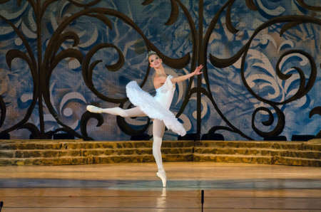 DNIPROPETROVSK, UKRAINE - OCTOBER 18: Sleeping beauty ballet performed by Dnipropetrovsk Opera and Ballet Theatre ballet on October 18, 2014 in Dnipropetrovsk, Ukraine. Editorial