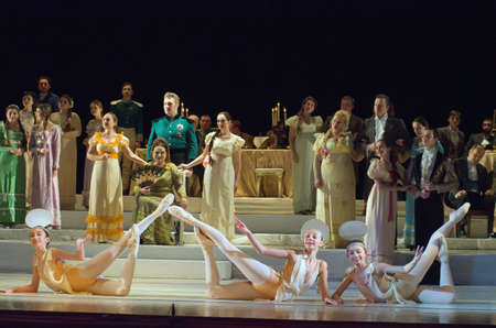 eugene: DNIPRO, UKRAINE - JANUARY 28, 2017: Eugene Onegin opera performed by members of the Dnipro Opera and Ballet Theatre. Editorial