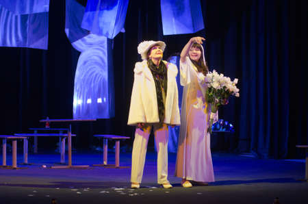 DNIPRO, UKRAINE - FEBRUARY 3, 2017: Comedy Vita bella! performed by members of the Dnipro State Drama and Comedy Theatre. Editorial