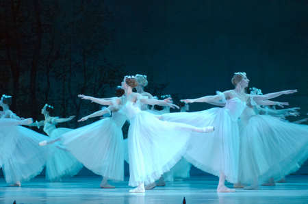 balletic: DNIPRO, UKRAINE - FEBRUARY 17, 2017: Classical ballet Giselle performed by members of the Dnipro Opera and Ballet Theatre.