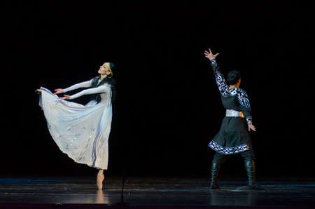 DNIPRO, UKRAINE - FEBRUARY 24, 2017: Ukrainian historical ballet Princess Olga performed by members of the Dnipro Opera and Ballet Theatre. Editorial