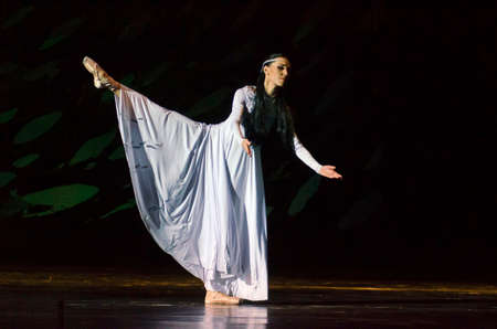 balletic: DNIPRO, UKRAINE - FEBRUARY 24, 2017: Ukrainian historical ballet Princess Olga performed by members of the Dnipro Opera and Ballet Theatre. Editorial