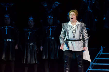 DNIPRO, UKRAINE - MARCH 5, 2017: Theatrical show Vivat Chayka performed by members of the Dnipro Opera and Ballet Theatre.