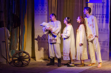 secular: DNIPRO, UKRAINE - APRIL  29, 2017: A simple story performed by members of the Dnipro Youth Theatre VERIM!.