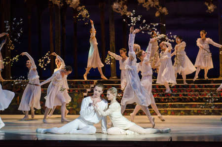 balletic: DNIPRO, UKRAINE - MAY 10, 2017: Classical ballet Romeo and Juliet. performed by members of the Dnipro Opera and Ballet Theatre.