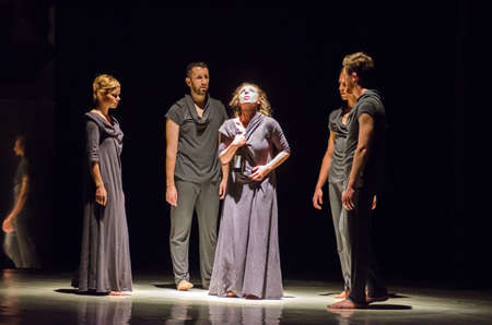 choreographic: DNIPRO, UKRAINE - JUNE 6, 2017: Choreographic performance Mirror perform  by members of the Motion Mode Dance Theatre at the State Theater of Drama and Comedy. Editorial