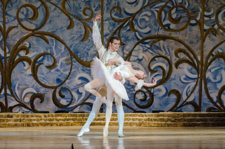 balletic: DNIPRO, UKRAINE - JUNE 3, 2017: Classical ballet Sleeping beauty performed by members of the Dnipro Opera and Ballet Theatre.