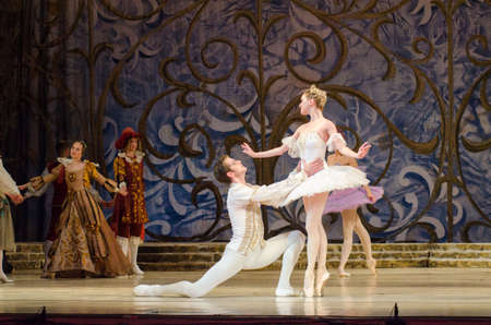 DNIPRO, UKRAINE - JUNE 3, 2017: Classical ballet Sleeping beauty performed by members of the Dnipro Opera and Ballet Theatre.