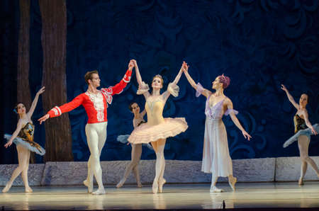 DNIPRO, UKRAINE - JUNE 3, 2017: Classical ballet Sleeping beauty performed by members of the Dnipro Opera and Ballet Theater.