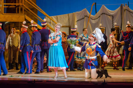 vocalist: DNIPRO, UKRAINE - JUNE 24, 2017: Comic Opera Love drink performed by members of the Dnipro Opera and Ballet Theatre.