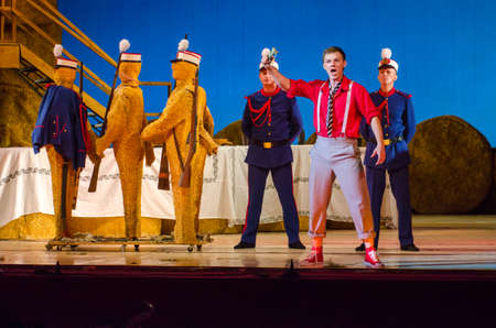 DNIPRO, UKRAINE - JUNE 24, 2017: Comic Opera Love drink performed by members of the Dnipro Opera and Ballet Theatre.