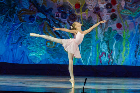 DNIPRO, UKRAINE - JUNE 17, 2017: An unidentified girl, age 11 years old, performs This eternal ballet tale at State Opera and Ballet Theatre.