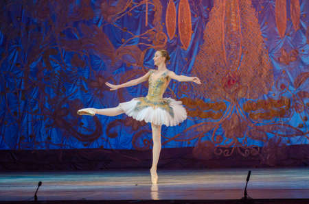 DNIPRO, UKRAINE - JUNE 17, 2017: An unidentified girl, age 16 years old, performs This eternal ballet tale at State Opera and Ballet Theatre. Editorial