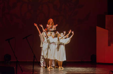 DNIPRO, UKRAINE - JUNE 26, 2017: The musical Kvitka performed by members of the Art project Kvitka Tsisik at the State Theater of Drama and Comedy.
