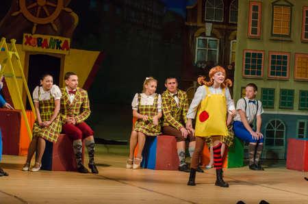 DNIPRO, Oekraïne - 30 september 2017: Pippi lange kous uitgevoerd door leden van het Zaporizhzhya Academische regionale Oekraïense muziek- en dramatheater genoemd naar Volodymyr Magar.