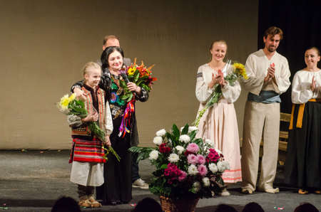 DNIPRO, UKRAINE - OCTOBER 4, 2017: Dramatic performances Sweet Darusia performed by members of the Ivano-Frankivsk Academic Regional Music and Drama Theater named after Ivan Franko.