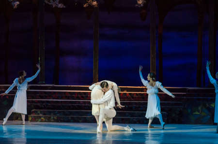 balletic: DNIPRO, UKRAINE - OCTOBER 21, 2017: Ballet Romeo and Juliet performed by members of the Dnipro  State Opera and Ballet Theatre. Editorial