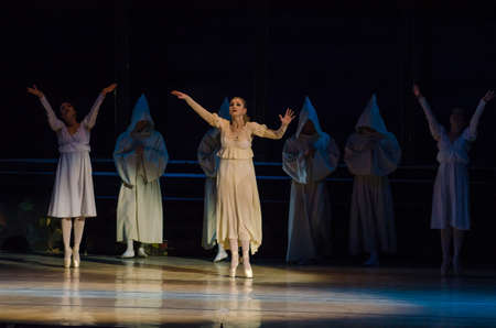 DNIPRO, UKRAINE - OCTOBER 21, 2017: Ballet Romeo and Juliet performed by members of the Dnipro  State Opera and Ballet Theatre. Editorial
