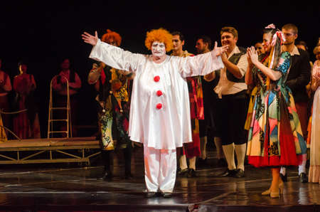 DNIPRO, UKRAINE - OCTOBER 28, 2017: Classical opera Pagliacci performed by members of the Dnipro Opera and Ballet Theatre. Éditoriale