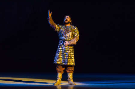 DNIPRO, UKRAINE - NOVEMBER 11, 2017: Members of the Dnipro Opera and Ballet Theatre performe Classical Opera Prince Igor.
