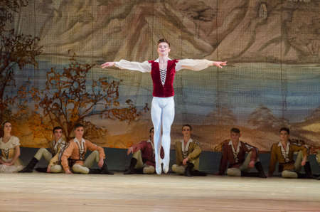 DNIPRO, UKRAINE - NOVEMBER 19, 2017: Classical ballet Giselle performed by members of the Dnipro Opera and Ballet Theatre. Banco de Imagens - 90288274