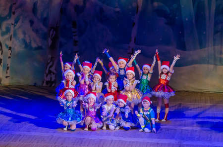 DNIPRO, UKRAINE - DECEMBER 28, 2017: Unidentified children, ages 4-5 years old, perform Christmas tale show at the State  Palace of children and youth.