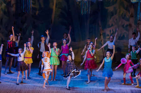 DNIPRO, UKRAINE - DECEMBER 28, 2017: Unidentified children, ages 8-12 years old, perform Christmas tale show at the State Palace of children and youth.