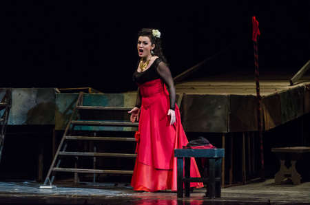 DNIPRO, UKRAINE - FEBRUARY 23, 2018: Classical opera Carmen performed by members of the Dnipro Opera and Ballet Theatre. Editorial