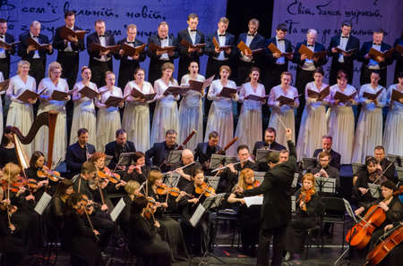 DNIPRO, UKRAINE - MARCH 10, 2018: Caucasus - Cantata symphony for choir and symphony orchestra by S.Lyudkevych performed by members of the Dnipro Opera and Ballet Theatre - conductor Nazar Yatskiv.