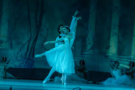 DNIPRO, UKRAINE - NOVEMBER 17, 2018: Classical ballet Sylphs to the music of Frederic Chopin performed by members of the Dnipro Opera and Ballet Theatre. Editorial