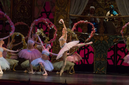 DNIPRO, UKRAINE – MARCH 17, 2019: Classical ballet Corsair by Adolphe Adam performed by members of the Dnipro Opera and Ballet Theatre.
