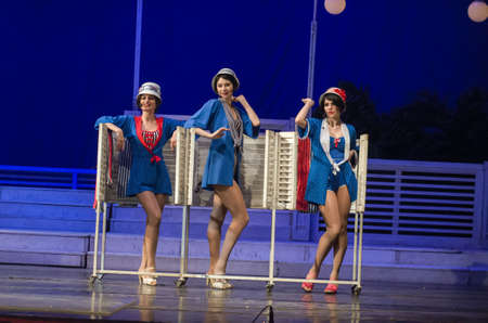 DNIPRO, UKRAINE – APRIL 8, 2019: The musical In the jazz only girls performed by members of the Odessa Academic musical comedy theater behalf of Michael Wodyanoy.