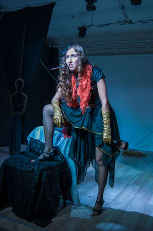 DNIPRO, UKRAINE - SEPTEMBER 22, 2019: Elena Lomonosov  perfomes Tales of Decadence at the Youth Theater Mirror. Sajtókép