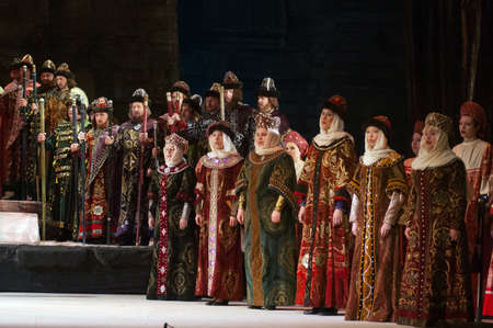 DNEPROPETROVSK, UKRAINE – JANUARY 28: Members of the Dnepropetrovsk State Opera and Ballet Theatre perform