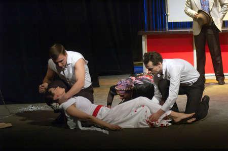 "DNEPROPETROVSK, UKRAINE - NOVEMBER 25: Members of the Dnepropetrovsk Youth Theatre ""Verim"" perform ""Raven"" on November 25, 2012 in Dnepropetrovsk, Ukraine"