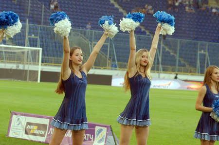 DNIPRO, UKRAINE - JULY 24, 2016: Members of the Dance Team Dnipro perform during  the Premier League football match FC Dnipro against FC Volyn. 版權商用圖片 - 147834467