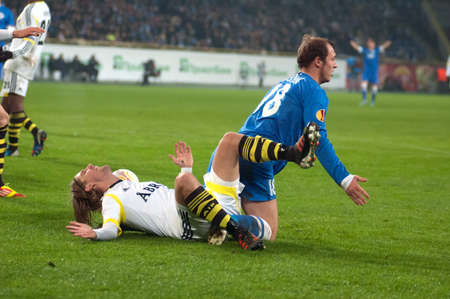 DNIPROPETROVSK, UKRAINE - DEC. 6: Roman Zozulya (R) of FC Dnipro and Martin Lorentzson of FC AIK in action during the match of UEFA Europa League on December 6, 2012 in Dnipropetrovsk, Ukraine