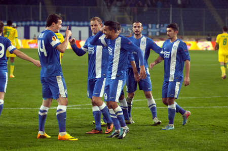 DNIPROPETROVSK, UKRAINE - NOVEMBER 7: FC Dnipro players celebrate scoring during the UEFA Europa League group stage match against FC Pacos on November 7, 2013 in Dnipropetrovsk, Ukraine
