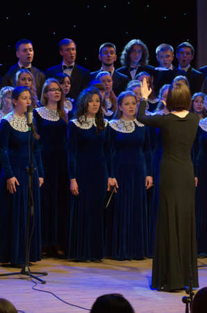 DNIPROPETROVSK, UKRAINE - MAY 6: Members of the Conservatory Choir perform at the Philharmonic on May 6, 2015 in Dnipropetrovsk, Ukraine