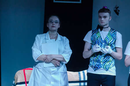 DNIPRO, UKRAINE - APRIL 25, 2021: Sanitarium perfomed by members of the Youth Theater Mirror. Editöryel