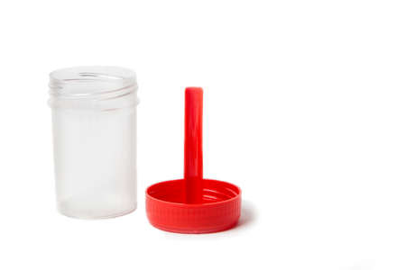 sterile plastic medical container for medical laboratory analysis isolated on the white background