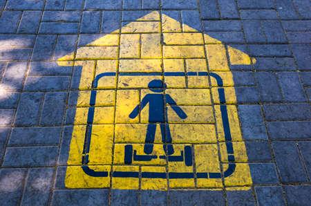 Road marking, sign: lane, descent for gyroscooter  版權商用圖片