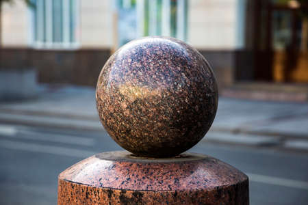 Sphere ball stone Bollards of marble chips Stock Photo