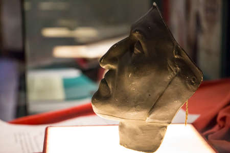 Dante Alighieri death mask in Dante Museum in Florence, Italy 2017-08-20