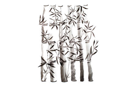 Hand drawn bamboo leaves and branch set, ink painting. Traditional dry calligraphic brush painting. (isolated on white background) Stock fotó